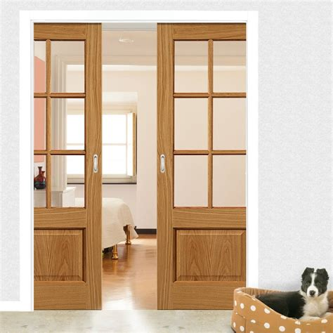 Dove Oak Double Pocket Doors Clear Glass Sliding Door Pocket Closet Doors Sliding