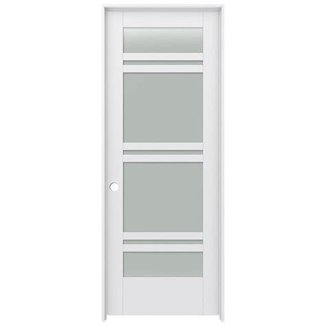Prehung Interior Door With Glass Shop Jeld Wen Moda 7 Lite Frosted Glass Pine Single Prehung Interior Door Common 30 In X 80 In
