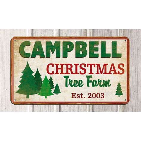 personalized christmas tree farm metal sign 8 quot x 14