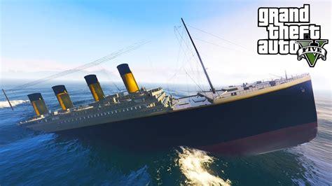 titanic picture of boat gta 5 titanic boat epic car stunt youtube