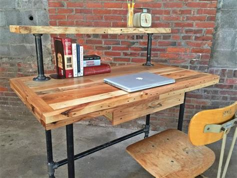 pallet and steel pipe stand up desk pallet furniture diy