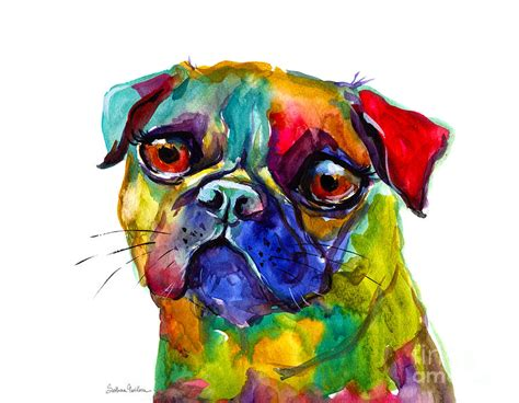 colorful dogs colorful pug painting painting by svetlana novikova