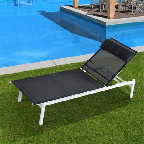 outsunny adjustable patio reclining outdoor chaise lounge