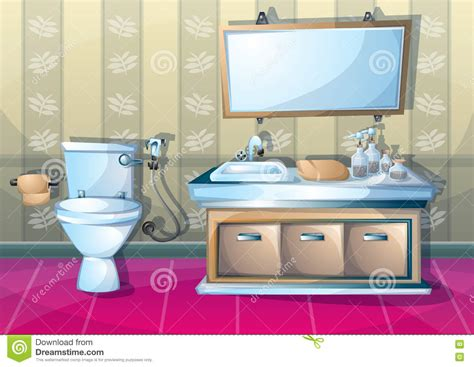 bathroom cartoon pictures cartoon vector illustration interior bathroom stock vector