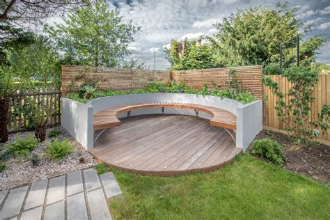 curved bench seating outdoor garden seat ideas deck contemporary with plank paving
