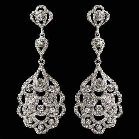 rhinestone chandelier earrings silver clear rhinestone chandelier earrings