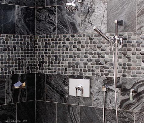 Basket weave pebble designed shower modern bathroom other metro by island stone