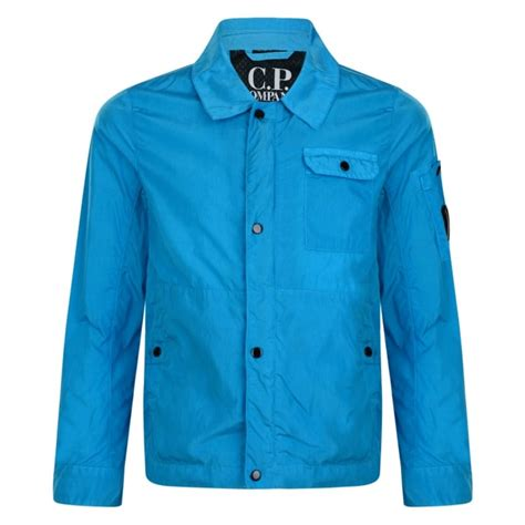 cp jkt pm turquise cp company boys turquoise overshirt jacket with logo