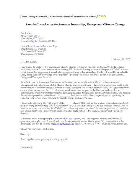 Resume Samples Yale by Sample Cover Letter For Summer Internship Energy And Climate Change Free Download
