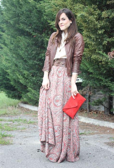 shirt maxi skirt leather jacket fall fashion