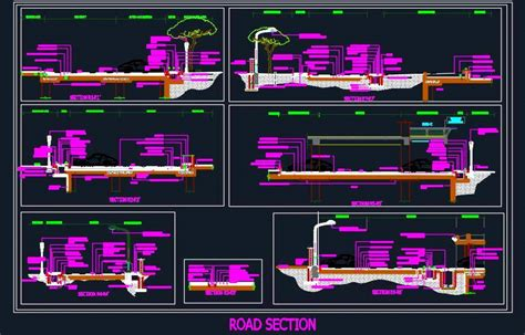 road section detail autocad dwg plan  design