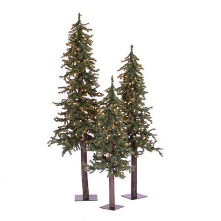 4 or 5 ftrustic christmas trees set of 3 rustic alpine artificial trees unlit walmart