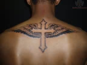 angel wings and cross tattoo