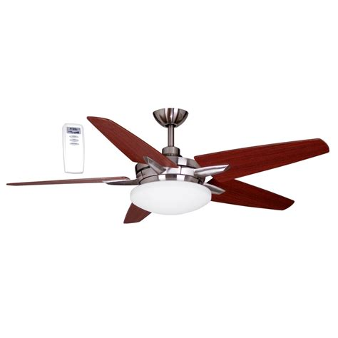 ceiling fans with remote and light lowes shop litex 52 in brushed nickel downrod mount ceiling fan