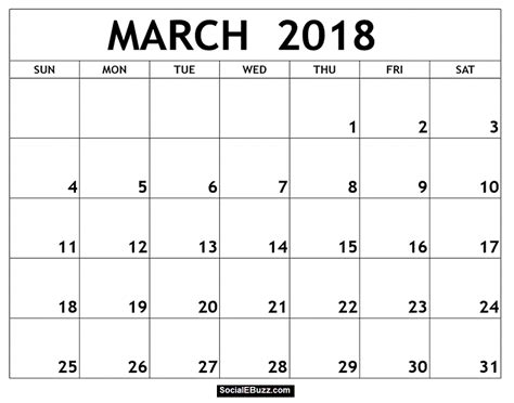 March 2018 Calendar Printable Template With Holidays Pdf Usa Uk 2018 Editable Calendar Template