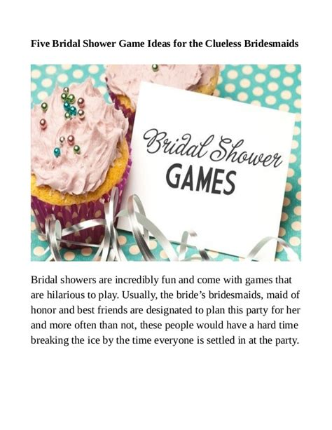 best bridal shower to play 2 five bridal shower ideas for the clueless bridesmaids