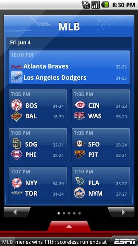 espn mlb scores mobile espn scorecenter app for android top best free apps