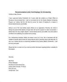 Letter Of Recommendation For Scholarship By Employer Sle Scholarship Recommendation Letter 7 Exles In Word Pdf