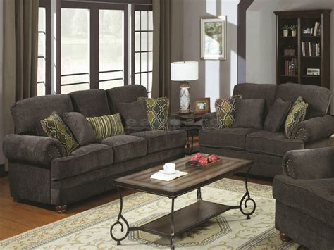 grey living room chairs colton smokey gray living room set coaster 504401 02