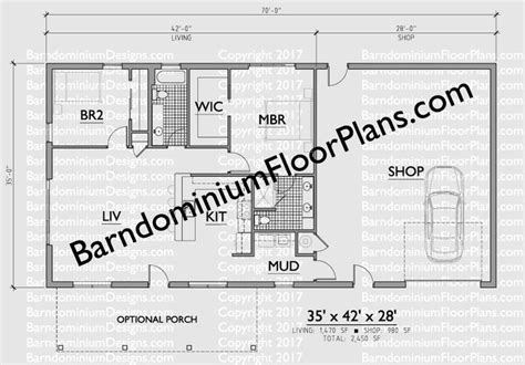 shop plans with living quarters 2 bedroom 2 bath barndominium floor plan for 35 foot wide