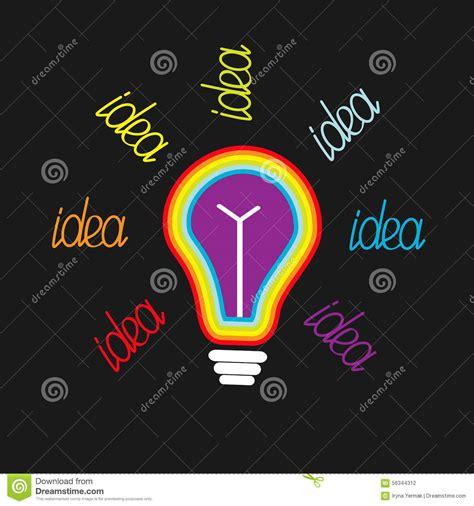 big bulb colored lights big rainbow colored light bulb idea concept flat design