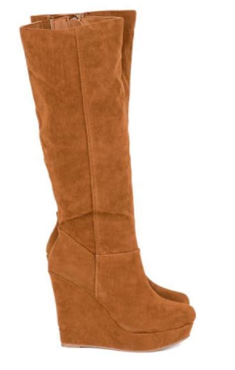 wedge suede heel knee high black chestnut trendy