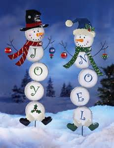 joy or noel holiday snowman lawn yard stake garden