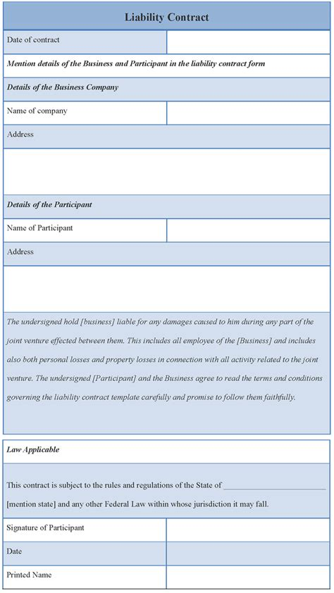 responsibility contract template contract template for liability exle of liability