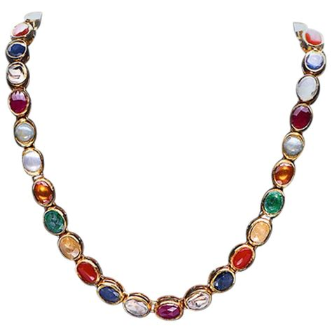 jewelry with stones gold necklace with navaratna stones at 1stdibs