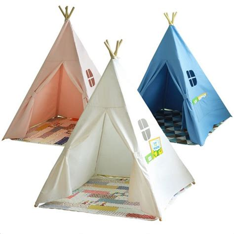 Teepee Tent Pesanan Customer baby playpens four poles children teepees play tent cotton canvas teepee white playhouse