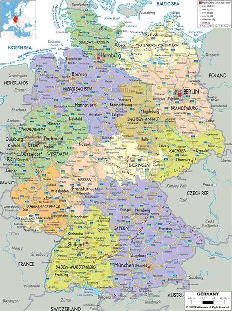 map of deutschland germany detailed political map of germany ezilon maps