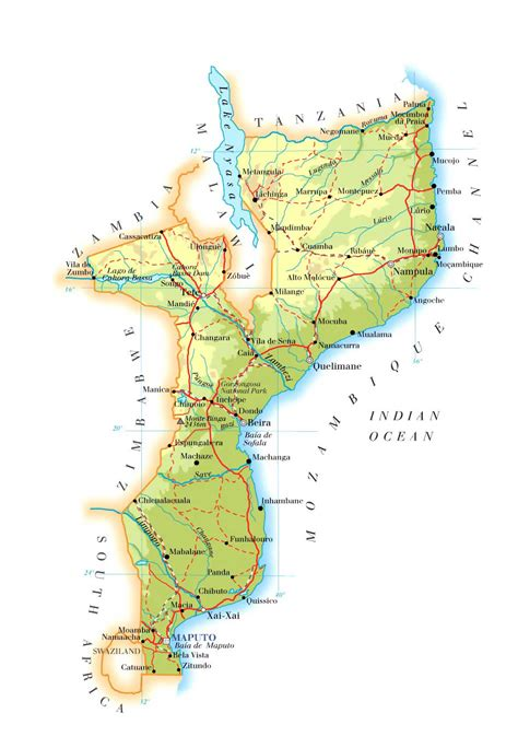 physical map of mozambique physical and road map of mozambique mozambique physical