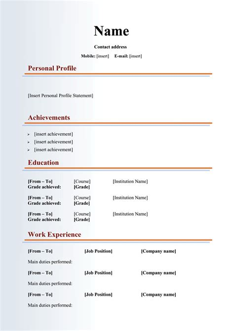 Cv Form Word by 48 Great Curriculum Vitae Templates Exles Template Lab