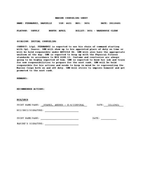 usmc counseling sheet template counseling sheet template usmc usmc counseling outline