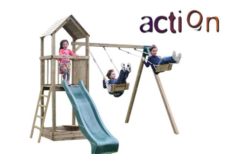 action swing action glastonbury swing wooden climbing frame kids