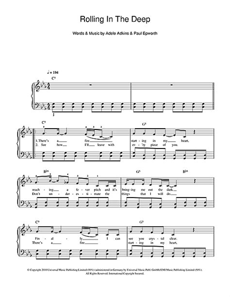 adele rolling in the deep piano music rolling in the deep sheet music by adele easy piano 108780