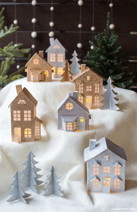 free printable christmas window decorations 3d paper christmas village lia griffith
