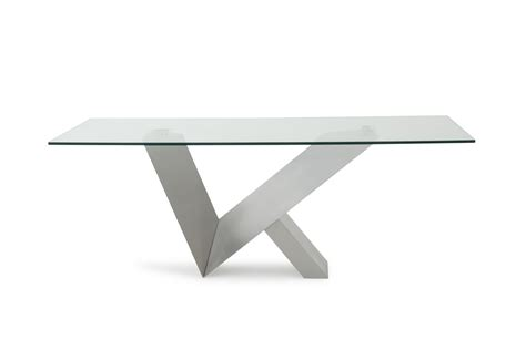 modrest harlow modern glass stainless steel dining table