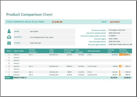 Product Comparison Sheet Template For Ms Excel Word Excel Templates Product Comparison Template Excel