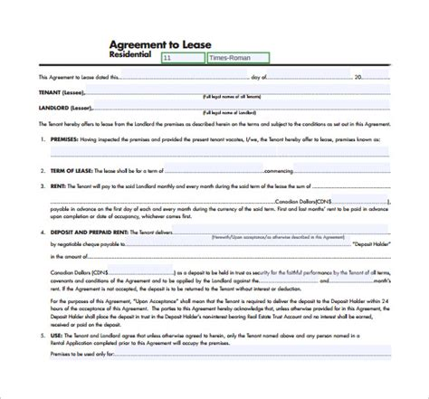 9 Residential Lease Agreement Templates Sle Templates Free Lease Template Pdf