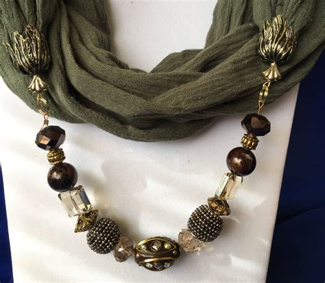 scarf necklace beaded olive beaded infinity scarf necklace womens scarves