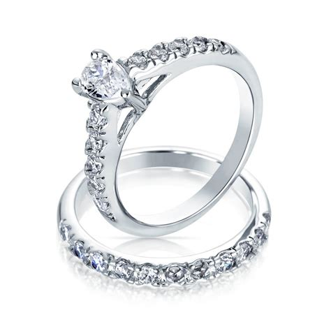 Ringe Silberhochzeit by Pear Shaped Cz Sterling Silver Engagement Wedding Ring Set