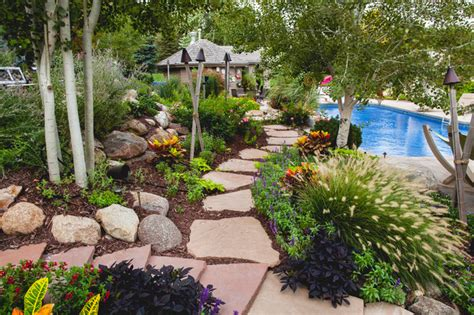 Tropical Backyard Landscaping Ideas Backyard Tropical Landscape Omaha By Sun Valley Landscaping