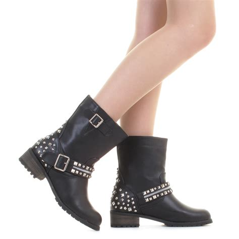 black studded leather style ankle biker boots