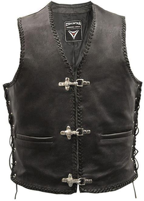 leather waistcoat biker full leather motorcycle waistcoat biker vest buckle ebay