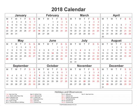 Printable Yearly Calendar 2018 Free Printable Calendar 2018