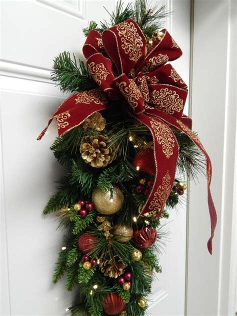 walmart pre lit wreath with battery and timer wreath tear drop swag cordless pre lit timered etsy