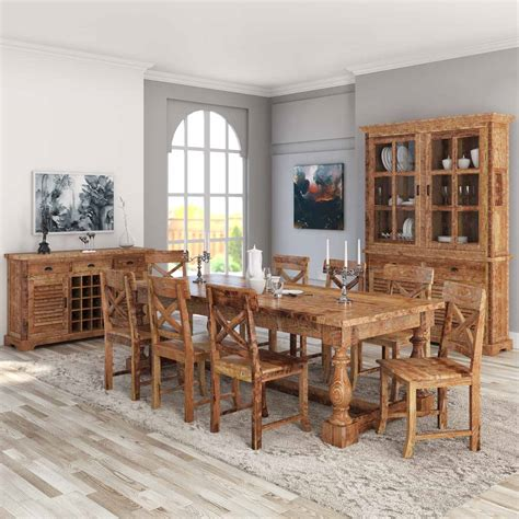 11 dining room set britain rustic teak wood trestle base 11 dining room set