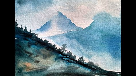 watercolor tutorial mountains simple mountain landscape watercolor painting tutorial for