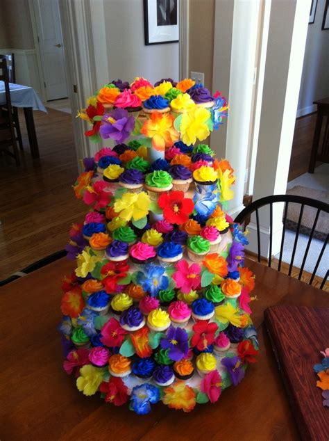 luau themed decorations luau cupcake tower hawaiian luau quinceanera theme